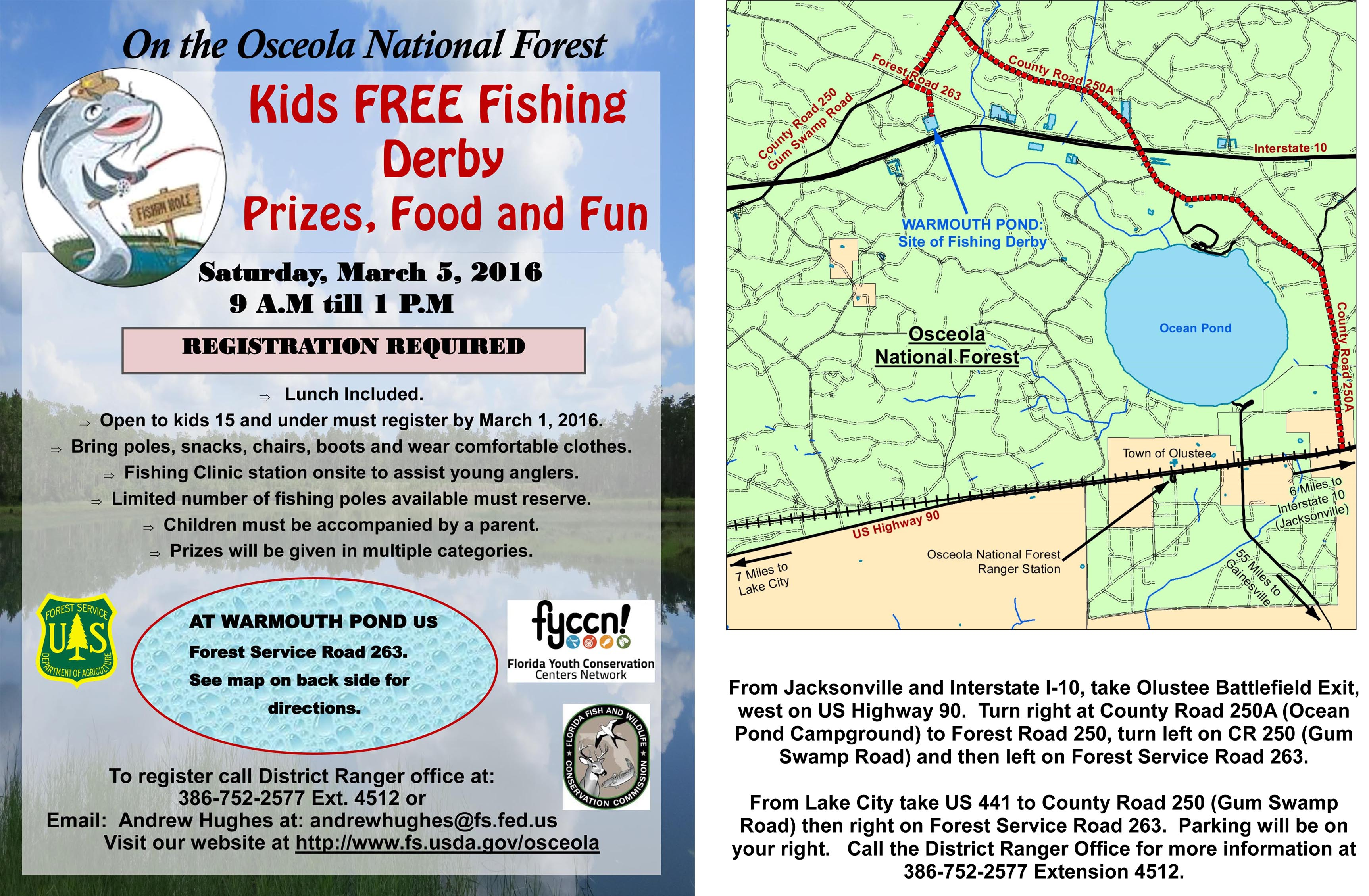 Kids FREE Fishing Derby Florida Youth Conservation Centers Network - Us 90 florida map